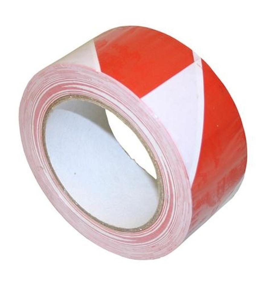 Tape, PVC signalisatietape, rood/wit, 50 mm x 33 meter.