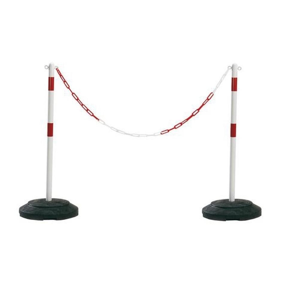 Afzetpaal rood/wit, 1 meter, met oog.
